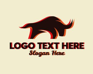 Livestock - Charging Bull Restaurant logo design