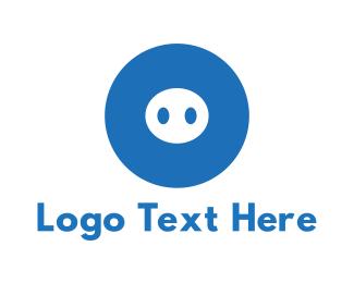 Snout - Blue Pig logo design