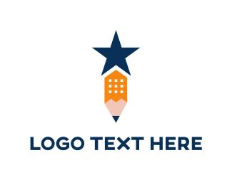 Teacher - Star Pencil logo design