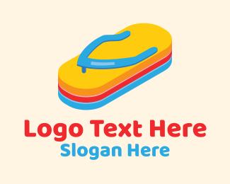 Perspective - 3D Summer Flip Flops  logo design