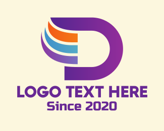Winged - Gradient Wing Letter D logo design