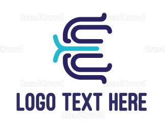 Modern - Modern E Outline logo design
