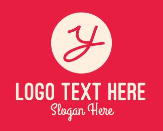 Handwritten - Pink Handwritten Letter Y logo design