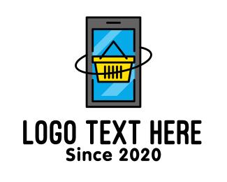 Shop - Online Mobile Shopping Cart logo design
