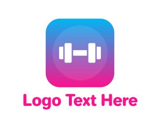 Training - Gradient Box Barbell  logo design