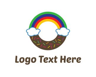 Breakfast - Rainbow Donut logo design