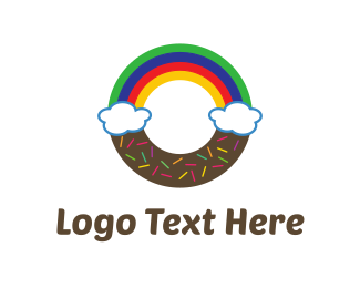 Breakfast - Rainbow Donut logo design
