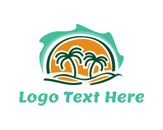 Venice Beach - Island Waves & Palm Trees logo design