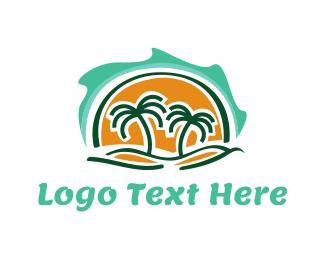 Palm - Island Waves & Palm Trees logo design