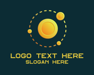 Monetary - Gold Coin Orbit logo design