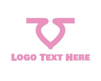 Letter V - Pink Letter V logo design
