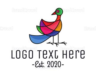 Designer - Mosaic Peacock Outline logo design
