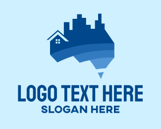Perth - Australia Map House Building logo design