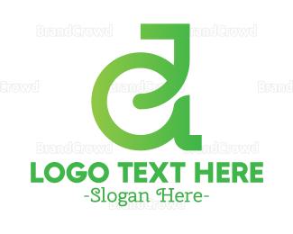 Renewable - Green Eco D Outline logo design