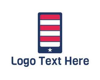 Telecommunication - American Mobile Phone Application logo design