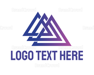 Triangle - Triple Triangle Outline logo design