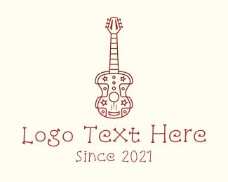 Minimalist - Hippie Guitar Music logo design