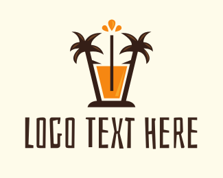 Milkshake - Tropical Palm Orange Juice logo design