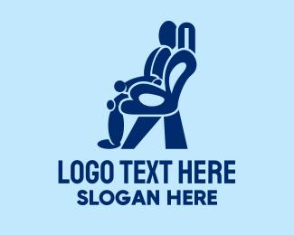 Massage - Blue Massage Chair Person logo design