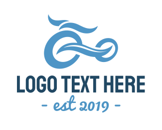 Blue Bike - Wave Bike logo design