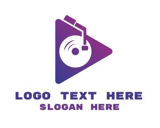 Dj - Triangle DJ Turntable logo design