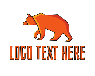 Forest Animal - Orange Bear logo design