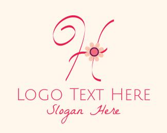 Calligraphy - Pink Flower Letter H logo design