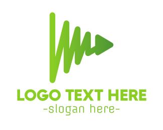 Video Player - Green Play Chart logo design