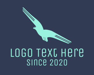 Fast - Blue Flying Bird logo design