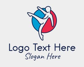 Gymnast - High Kick Person logo design