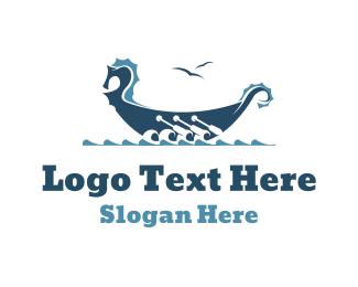 Viking - Viking Rowboat Boat logo design