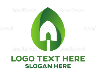 Plants - Leaf Planting Shovel logo design