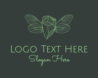 Crystal - Green Wing Crystal Gem logo design