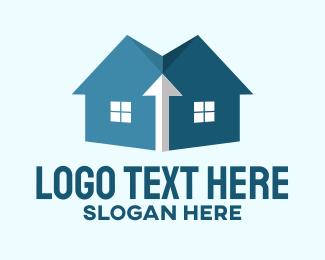 Roofing Service - Blue House Construction logo design