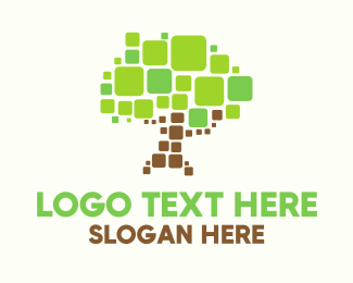 Online Learning - Pixel Tree logo design
