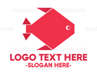 Aquarium - Origami Red Fish logo design