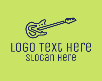 Guitar Lesson - Blue Electric Guitar logo design
