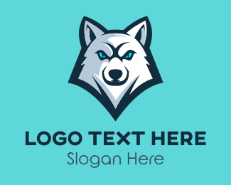 Streamer - White Wolf Mascot logo design