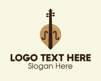 Green Instrument - Brown Cello Classical Music logo design