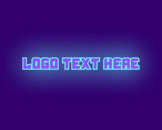 Fluorescent - Neon DJ Wordmark logo design