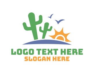 Nevada - Cactus Sun Valley Desert logo design