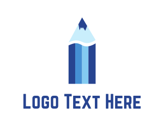 Ski - Blue Color Pencil  logo design