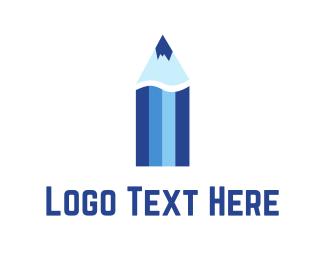 Pencil - Blue Color Pencil  logo design
