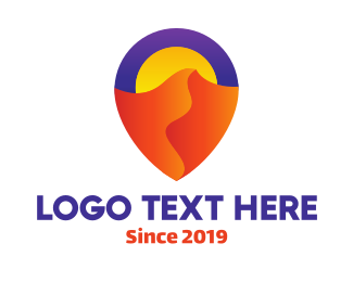 Nevada - Colorful Desert Locator logo design