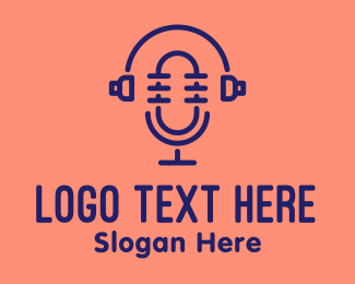 Broadcast - Podcast Mic Headset  logo design