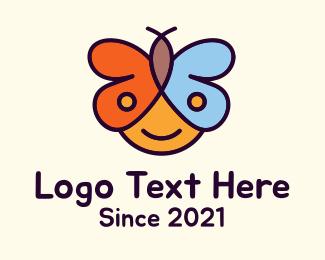 Kiddo - Child Butterfly logo design