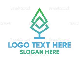 Herbal - Gradient Pine Tree logo design