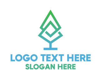Life - Gradient Pine Tree logo design