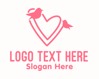 Lover - Pink Lover Birds logo design