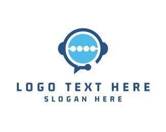 Headphones - Blue Headphones logo design